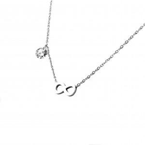 Women's necklace with infinite steel design in silver AJ(KK0027A)