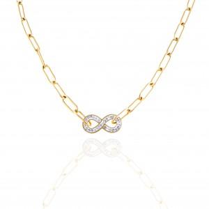 Women's Infinity Necklace in Steel in Yellow Gold AJ (KK0027X)