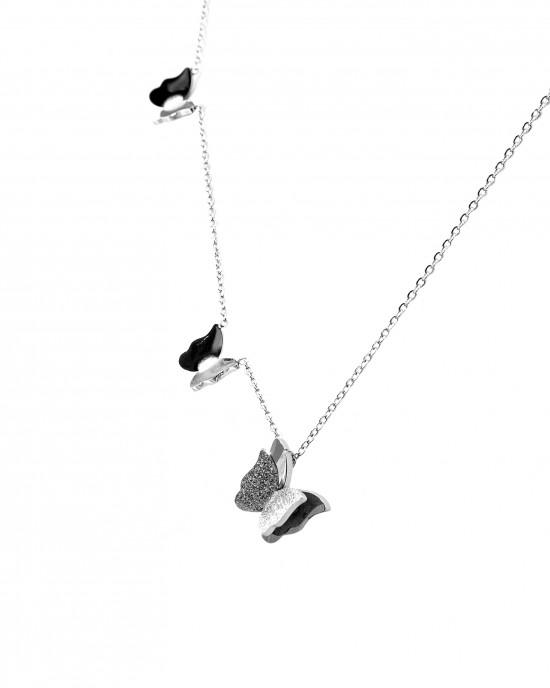 Women's necklace with silver butterfly butterflies AJ(KK0030A)