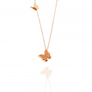 Women's necklace with butterflies made of surgical steel in pink gold color  AJ(KK0030RX)