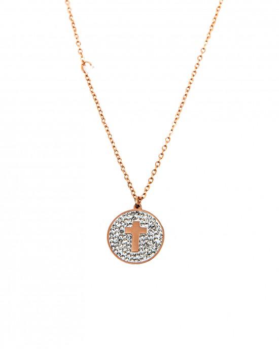 Women's Cross Necklace with Strass Steel in Pink Gold  AJ (KK0032RX)