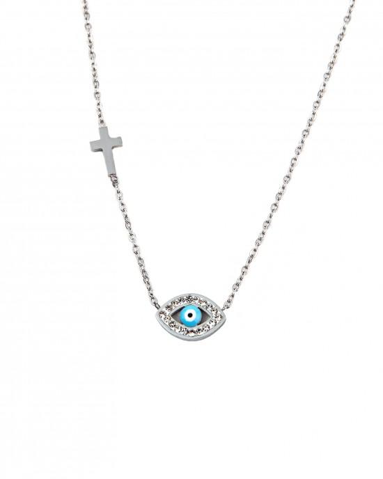 Women's Necklace with Stainless Steel Eye in Silver  AJ(KK0034A)