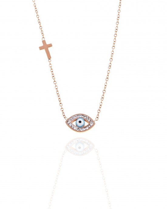 Necklace - Eye with Steel Stones in Rose Gold AJ (KK0034RX)