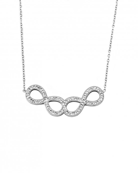 Stainless steel necklace with double infinity  and zirconia AJ(KK0035A)