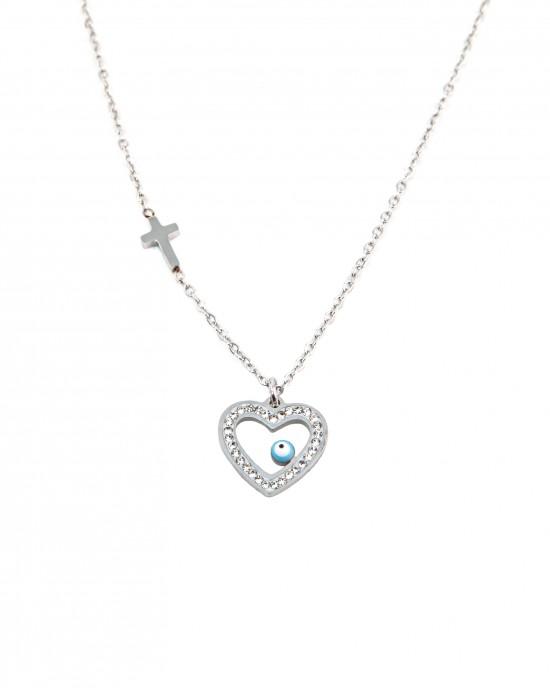 Women's allergic heart necklace with steel cross in silver color AJ(KK0040A)