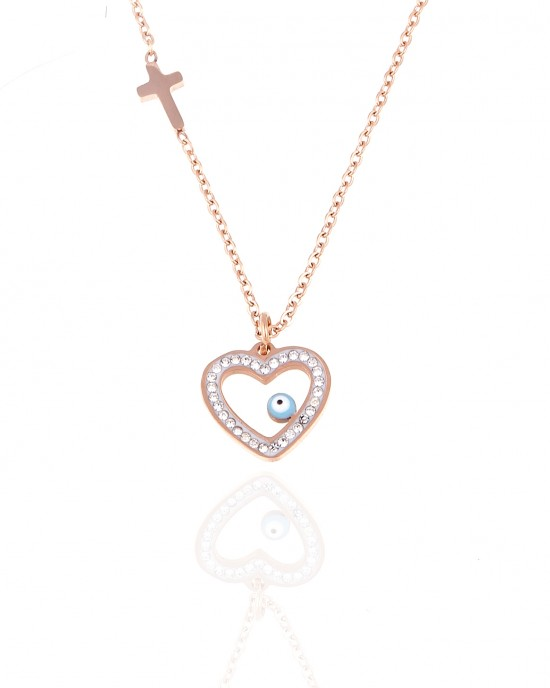 Women's heart necklace with gold stainless steel cross AJ(KK0040RX)