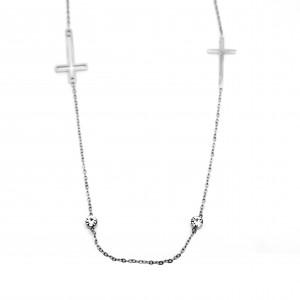 Women's Cross with Double Cross in Silver Color with Zircon AJ (KK0042A)
