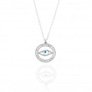 Steel Women's Eye Necklace in Silver AJ Color (KK0043A)