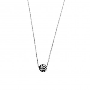 Women's Necklace in Steel Silver Ball with Strass AJ (KK0044A)