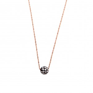 Women's Steel Necklace in Pink Pink Gold Ball with Strass AJ (KK0044RX)