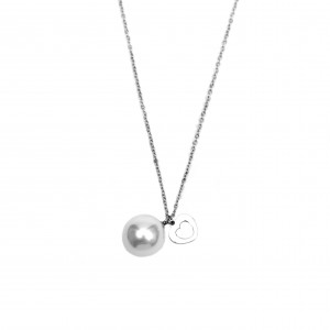 Steel Women's Necklace with Stone Pearl and Heart in Silver AJ (KK0045A)