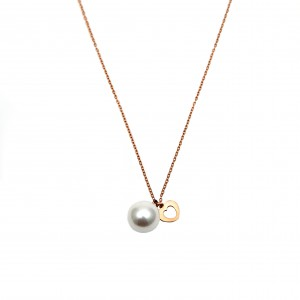 Women's Steel Necklace in Pink Pink Gold Heart with Pearl AJ (KK0045RX)