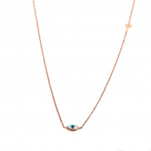 Women's Eye Necklace From Steel to Pink Gold Color AJ (KK0046RX)