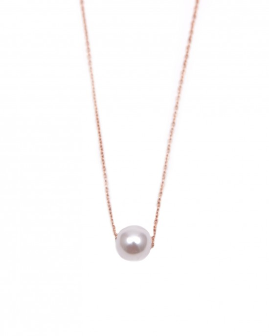 Women's Necklace in Steel Pink Gold with Pearl AJ (KK0047RX)