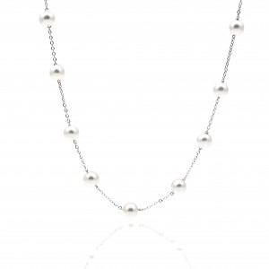 Women's Silver Necklace with Pearls AJ (KK0048A)