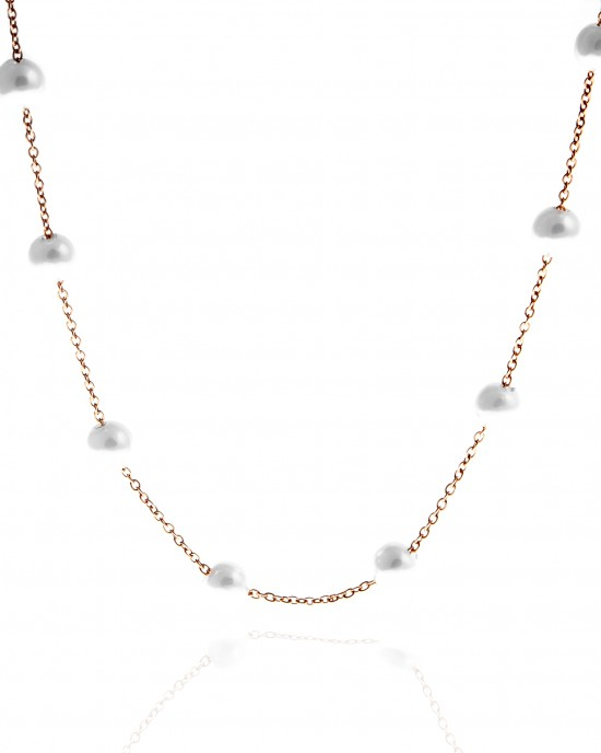 Women's Steel Necklace in Pink Gold with Pearls AJ (KK0048RX)