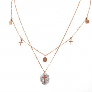 Women's Double Cross Necklaces, Stainless Steel Pink Gold AJ(KK004RX)