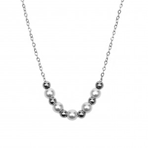 Women's Necklace with Steel Stones in Silver AJ Color (KK0051A)