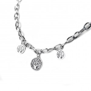 Women's Stainless Steel Necklace in Tree of Life Design and Zirconia Stones Silver AJ(KK0063A)