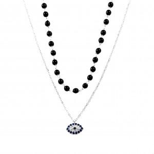 Women's Steel Eye Necklace with Stones Rosary AJ (KK0082A)