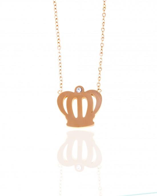 Necklace - Women's Crown of Steel in Rose Gold AJ (KK0082RX)