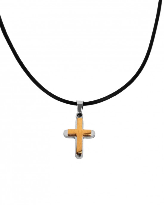 Cross Men's Steel necklace in Silver Color and Yellow Gold AJ (KK0087AX)
