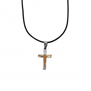 Cross Men's Steel necklace in Silver Color and Yellow AJ Gold (KK0089AX)