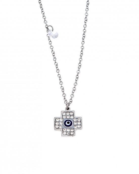 Eye Stainless Steel Necklace Necklace in Silver AJ (KK0096A)
