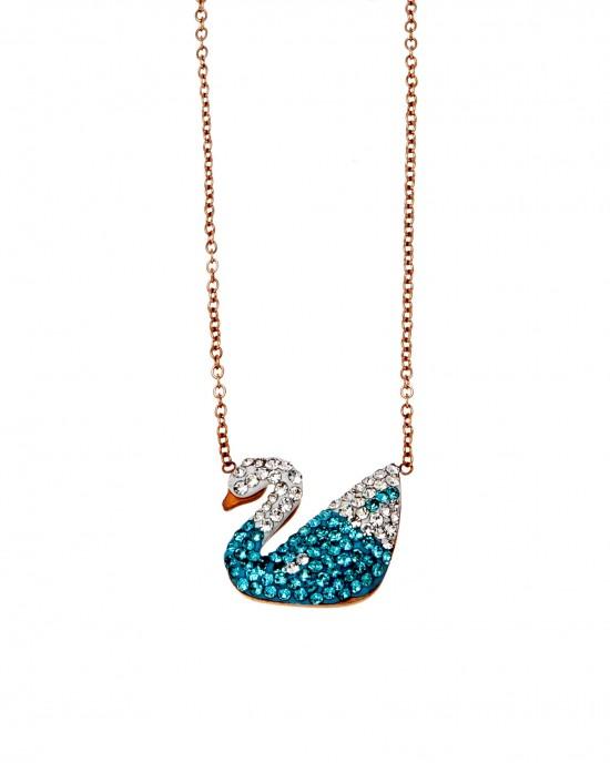 Women's Steel Swan Necklace in Pink Gold with Stones AJ (KK0102RX)
