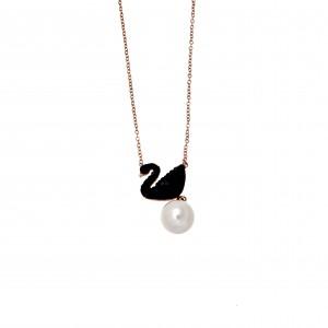 Women's Steel Swan Necklace in Pink Gold with AJ Stones (KK0103RX)