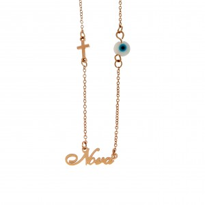 Stainless Steel Nona Necklace in pink AJ Gold (KK0105RX)