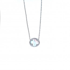 Necklace-Cross with Fildisi from Steel in Silver AJ (KK0106A)