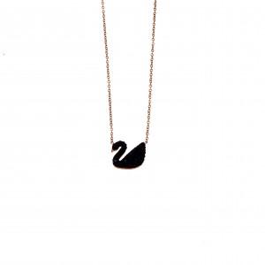 Steel Swan Necklace in Pink Gold AJ (KK0107RX)
