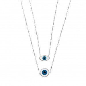 Double Steel Eye Necklace in Silver AJ (KK0108A)