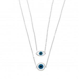 Double Steel Eye Necklace in Silver AJ (KK0108A)