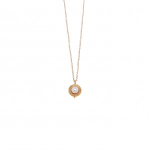 Necklace - Single stone with Steel Pearl in Gold AJ (KK0113X)