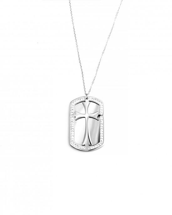 Women's Identity Necklace Cross made of Steel in Silver AJ (KK0177A)