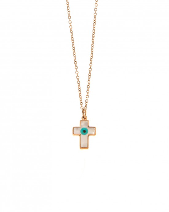 Necklace-Cross from Steel with Ivory in Rose Gold AJ (KK0117RX)