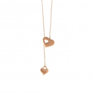 Double Heart Necklace Made of Steel in Pink Gold AJ (KK0122RX)