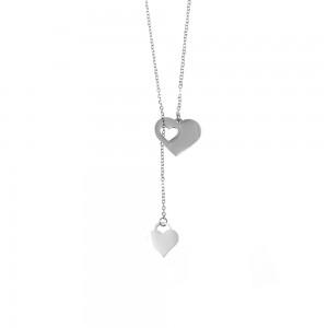 Double Heart Necklace in Steel AJ Silver (KK0125A)