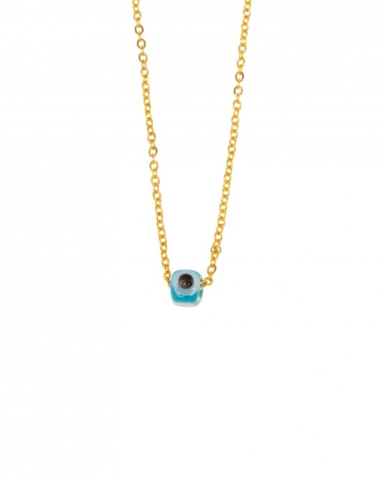 Stainless Steel Eye Necklace in Yellow Gold AJ (KK0128X)