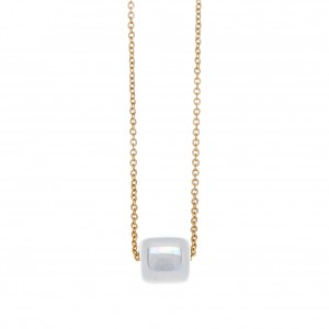 Necklace-Single Stone from Steel in Pink Gold AJ (KK0136X)