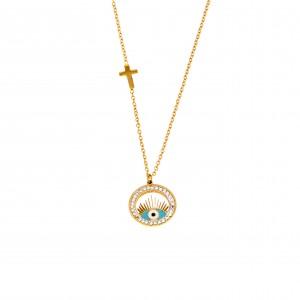 Women's Eye Necklace from Steel to Yellow Gold AJ(KK0143X)