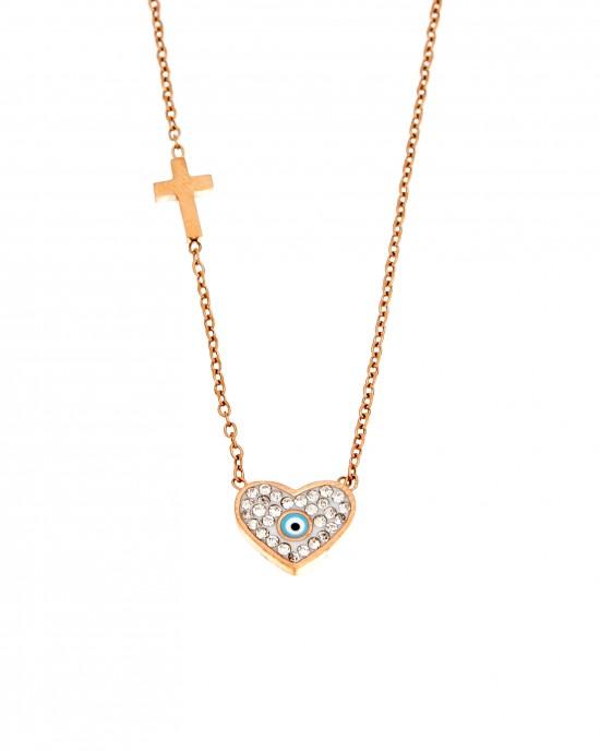 Women's Heart Necklace in Steel in pink Gold AJ (KK0146RX)