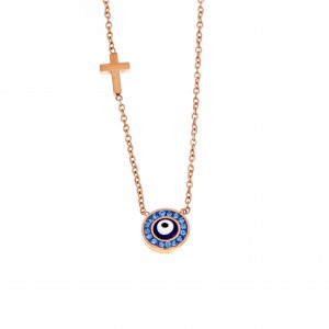 Women's Steel Necklace eye in Steel Gold Pink AJ (KK0147RX)