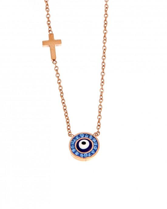 Women's Steel Necklace eye in Steel Gold Pink AJ (KK0147RX)