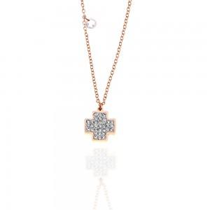Women's Cross Necklace Made of Steel in Rose Gold with Zircon Stones AJ (KK0149RX)
