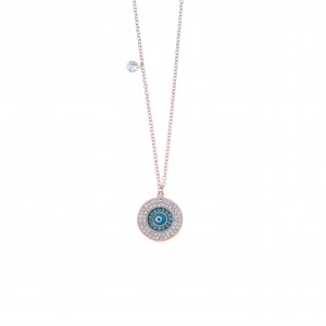 Women's Eye Necklace made of Steel in Pink Gold AJ(KK0150RX)