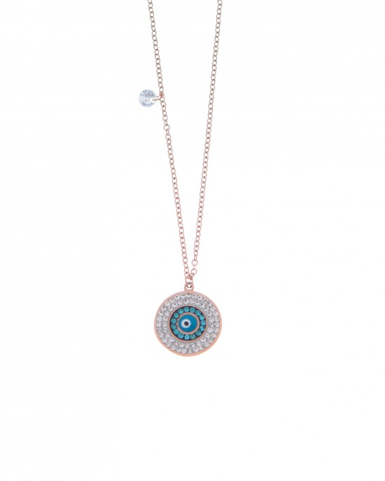 Women's Eye Necklace made of Steel in Pink Gold AJ(KK0150RX)
