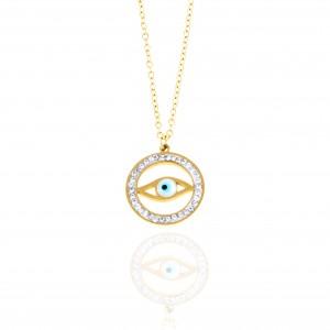 Women's Eye Necklace made of Steel in Gold AJ(KK0150RX)